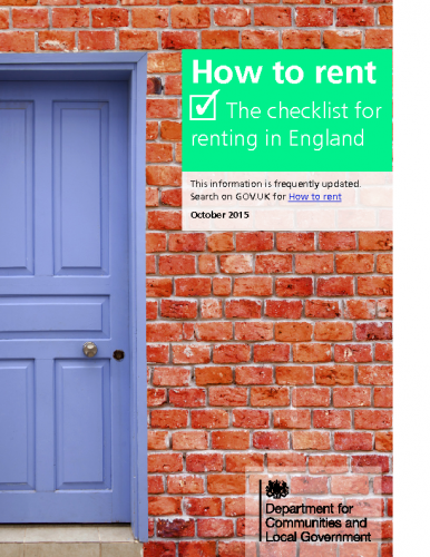 UK DCLG – How to Rent Guide for Tenants
