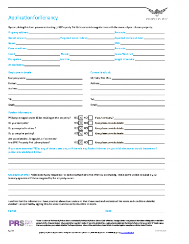 UKPP Tenancy Application (Electronic)