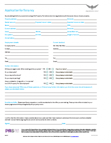 UKPP Tenancy Application (PAPER)